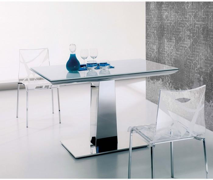 Ozzio Tisch Box ~ Ozzio Matrix ausziehbarer Glastisch mit verspiegelten Tischfuß