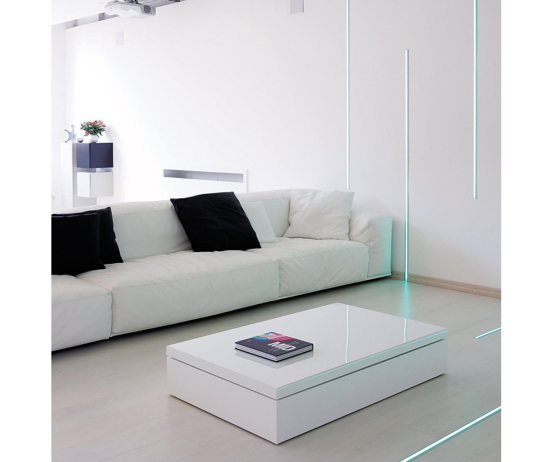 Ozzio Couchtisch Flat rechteckig weiß
