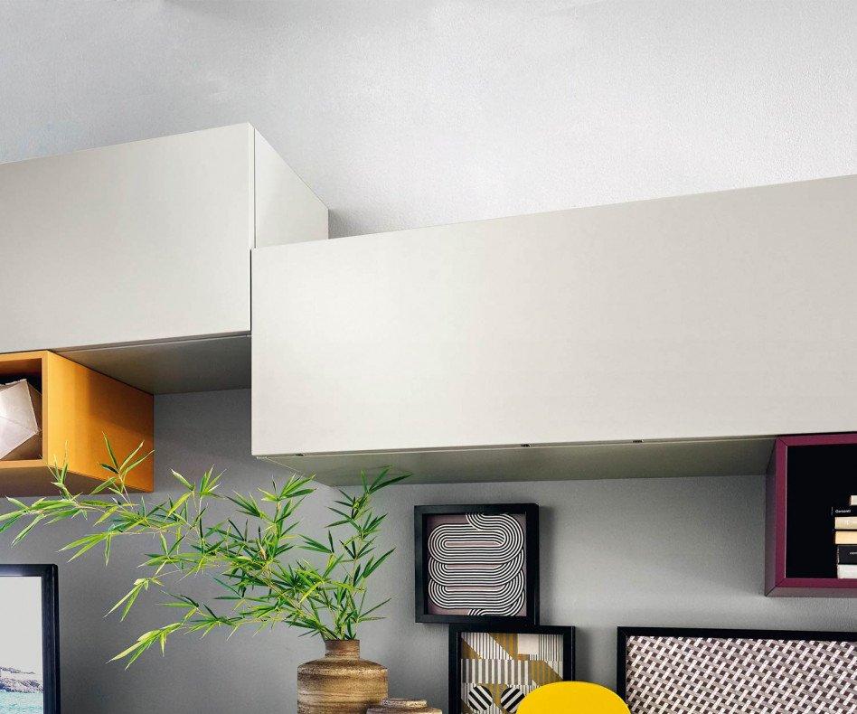 Exklusive Livitalia Tetris Design Wohnwand C19 Schwebend in Grau und Weiß Matt