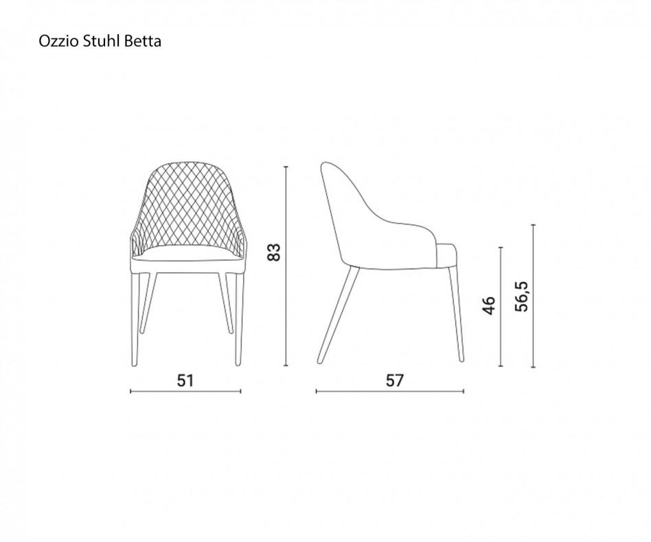 Exklusiver Ozzio Design Stuhl Betta Leder