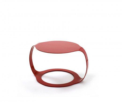 Exklusiver SpHaus Ora M Designer Couchtisch in Rot aus einem Stück Aluminium