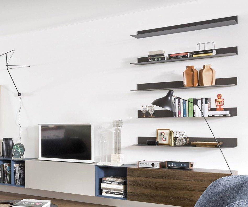 Modernes Novamobili Ellie Design Wandregal mit LED Beleuchtung