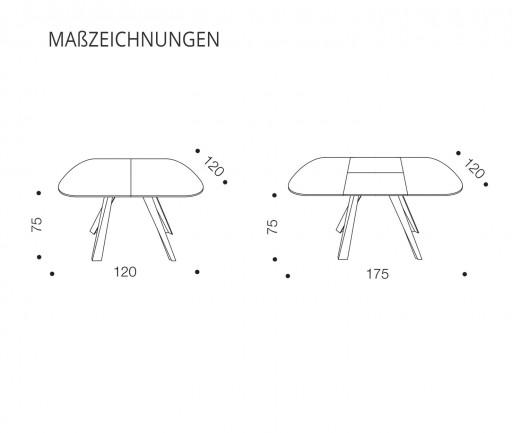 Ozzio Esstisch Bombo T245 Skizzenzeichnung