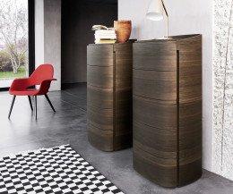 Moderne Livitalia Design Hochkommode rund in brauner Eiche