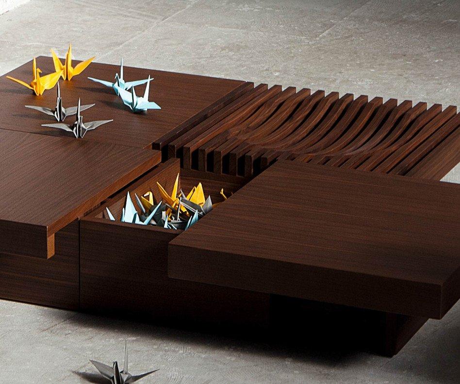 Exklusiver Conde House Barringer Design Couchtisch mit offenen verstecktem Fach