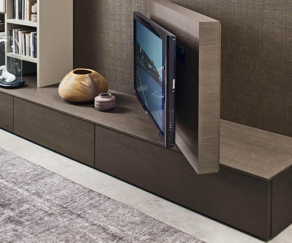 Livitalia wohnwand c45 mit b cherregal und tv paneel for Wohnwand tv