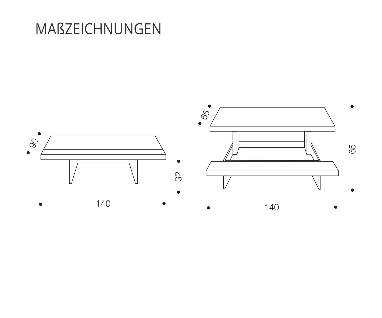 Ozzio Couchtisch Markus mit höhenverstellbare Tischplatte