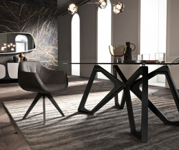 Transparente Tischplatte Ozzio Papillon Esstisch Wohnzimmer Gestell Eiche