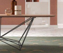 Exklusiver Design Esstisch Detail Tischgestell Stahl Tischplatte Walnuss Furnier
