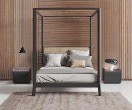 Moderner Design Nachttisch Abdeckplatte Metall dunkelgrau gebeiztes Eichen Furnier