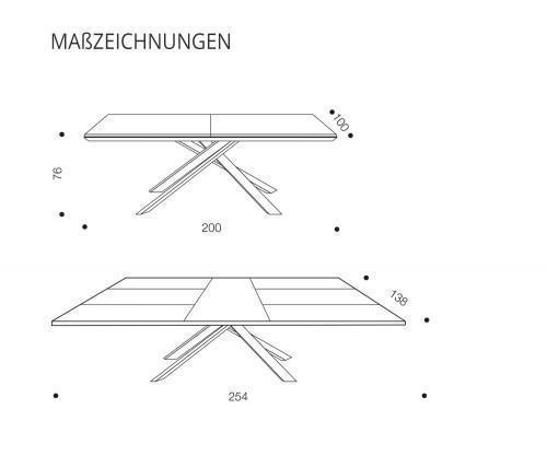 Ozzio Esstisch 4x4 T240 Skizzenzeichnung
