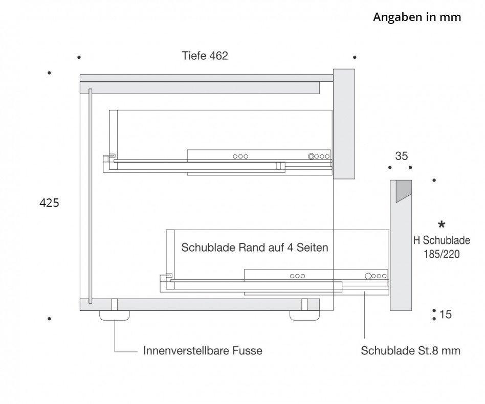 Moderner Livitalia Tacca Nachtschrank B 60 cm Hochglanz Hellgrau