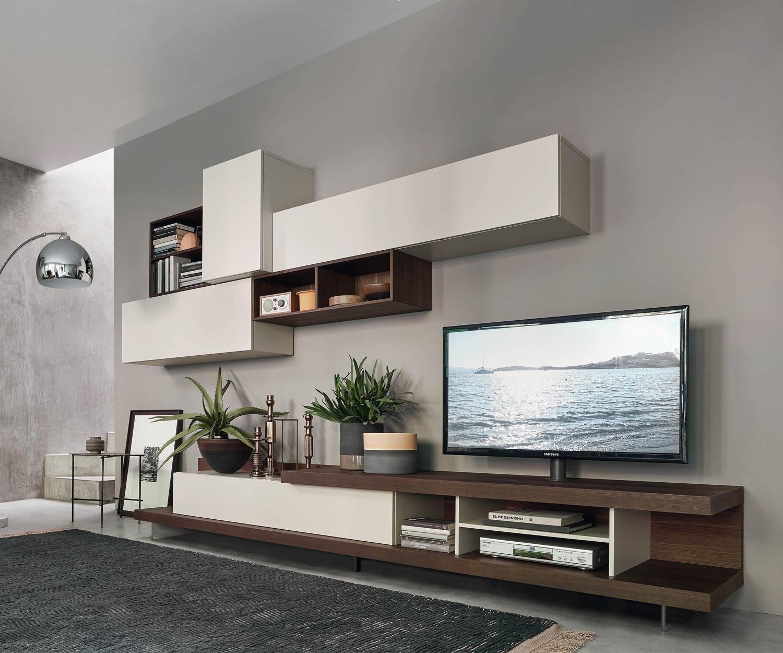 Livitalia wohnwand c52 mit drehbarer tv halterung for Wohnwand mit tv