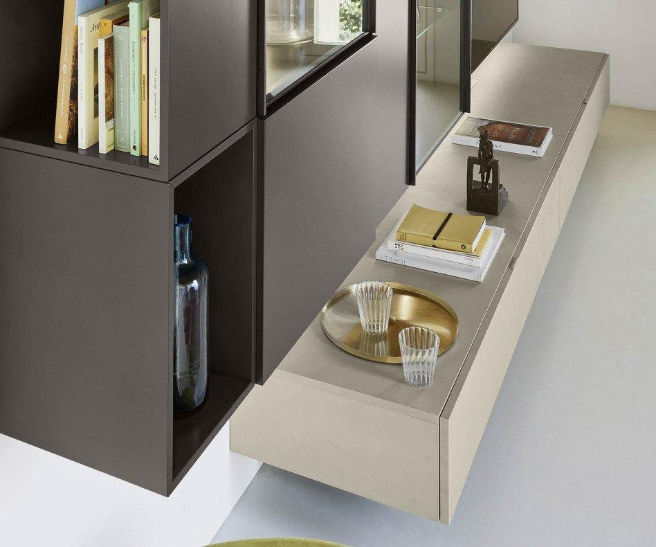 Exklusive Livitalia Design Wohnwand C39 mit TV Wandpaneel