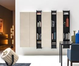Novamobili Wand- Bücherregal Butterfly vertikal schwarz