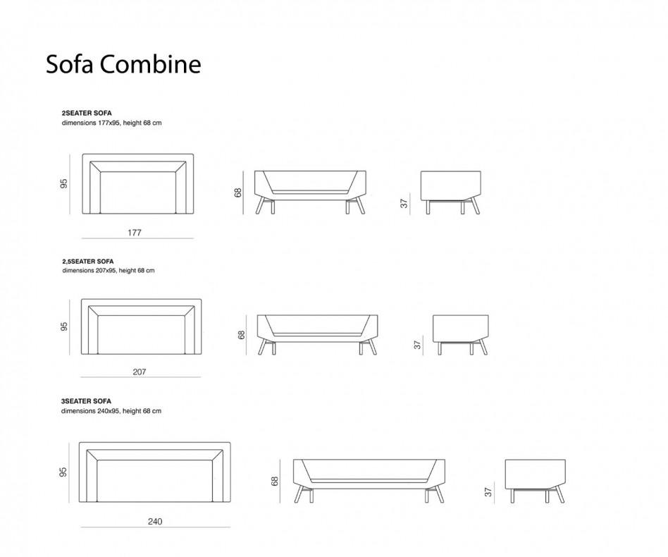 Hochwertiges Prostoria Combine Designer Sofa im Wohnzimmer mit Sessel