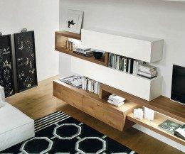 Exklusive Livitalia Design Wohnwand C25 mit Hängeschränken und TV Lowboard
