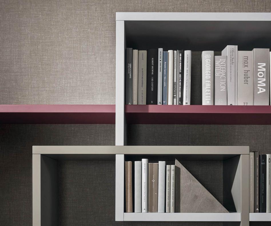 Livitalia Wohnwand C59 mit Bücherregal hängend