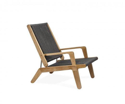 Oasiq Skagen Design Liegestuhl aus Teak mit Seilbespannung in Grau und Hocker