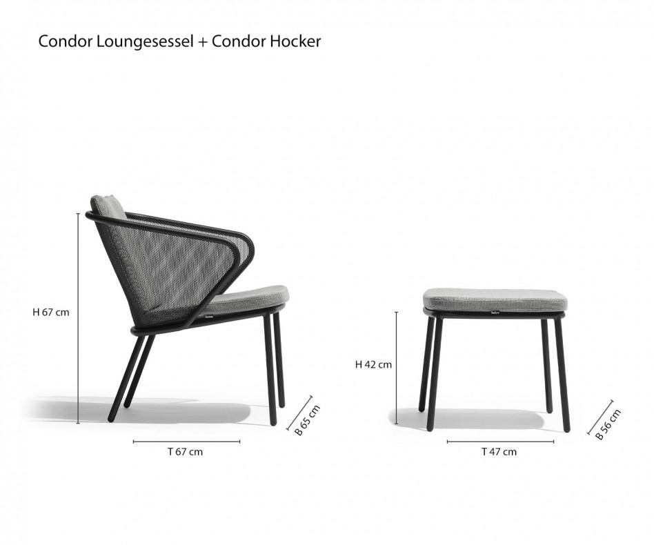 Hochwertiger Todus Condor Design Loungesessel mit Polster in Anthrazit