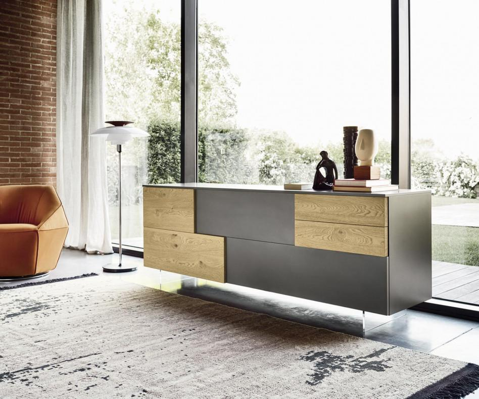 livitalia sideboard incontro auf transparentem sockel. Black Bedroom Furniture Sets. Home Design Ideas