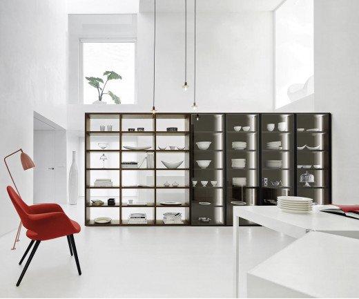 Exklusives Livitalia Design Bücherregal Glastüren Raumteiler C91