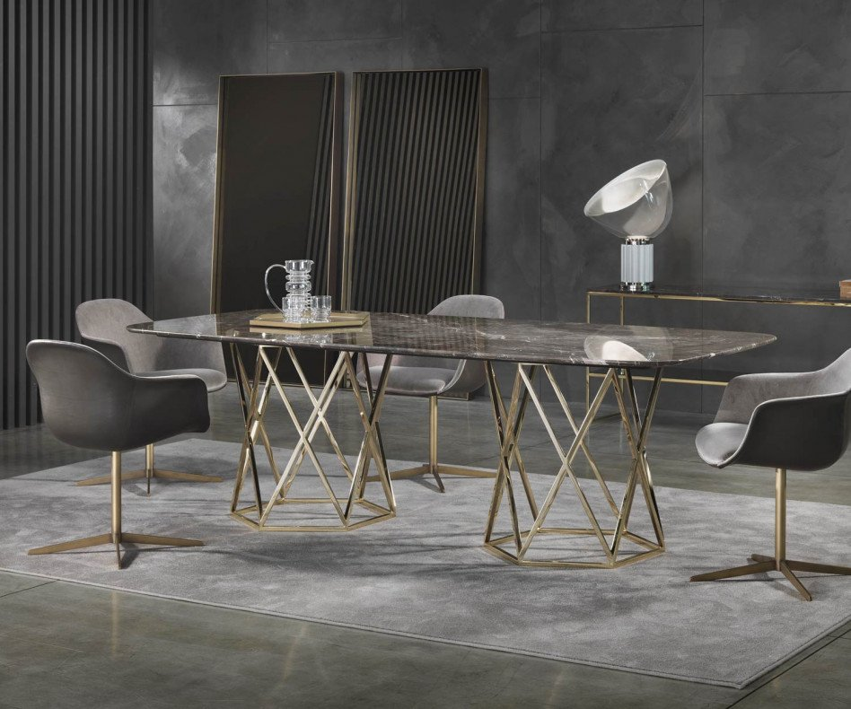 Design Luxus Esstisch Marelli Tatlin Marmor mit Stühlen im Esszimmer