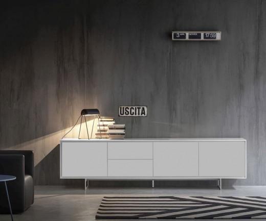 Exklusives Novamobili Design Sideboard Schatten 4 mit 3 Türen und 2 Schubladen in Weiß