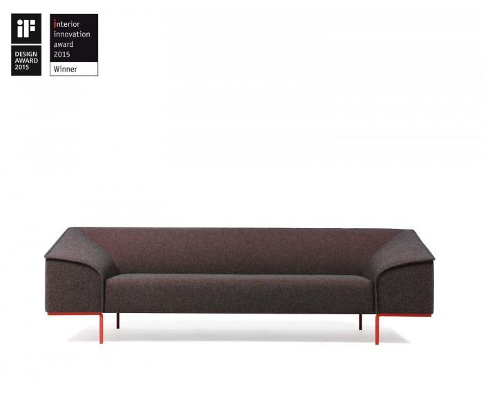 Prostoria Seam Contour Sofa grau rot gepunktet Craggan07