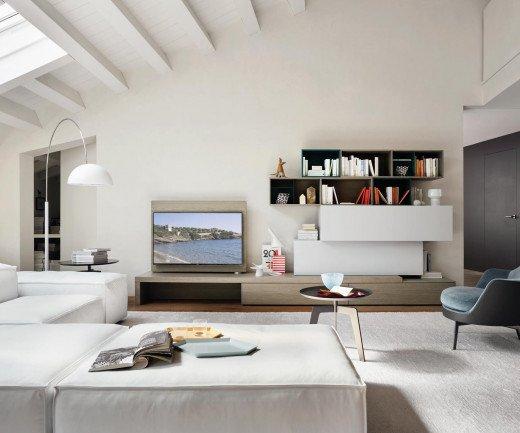 Wohnwand C44 mit TV Paneel und Schreibtisch