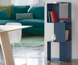 Novamobili Design Standregal in Oceano Blau mit drei Modulen gestapelt