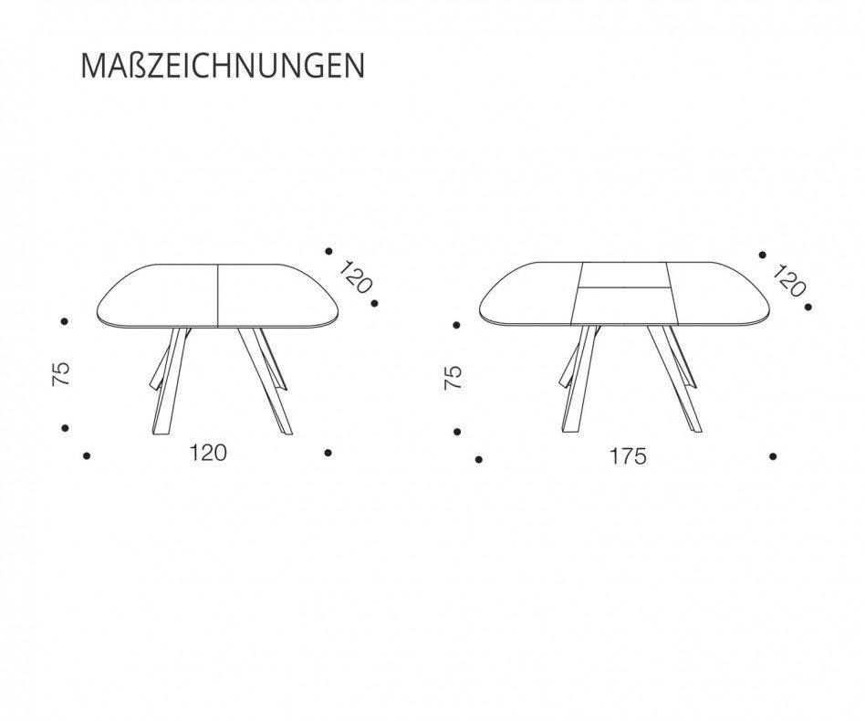 Ozzio Bombo ausziehbarer Esstisch T245 quadratischer Tisch mit runden Ecken