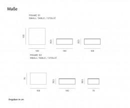 Couchtisch Frame Breite 100 cm Skizze Maße Größen