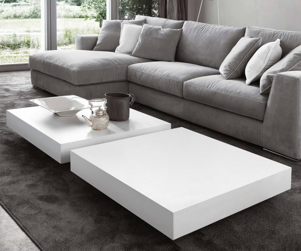 Novamobili Couchtisch Schatten matt weiß 90x90 H20