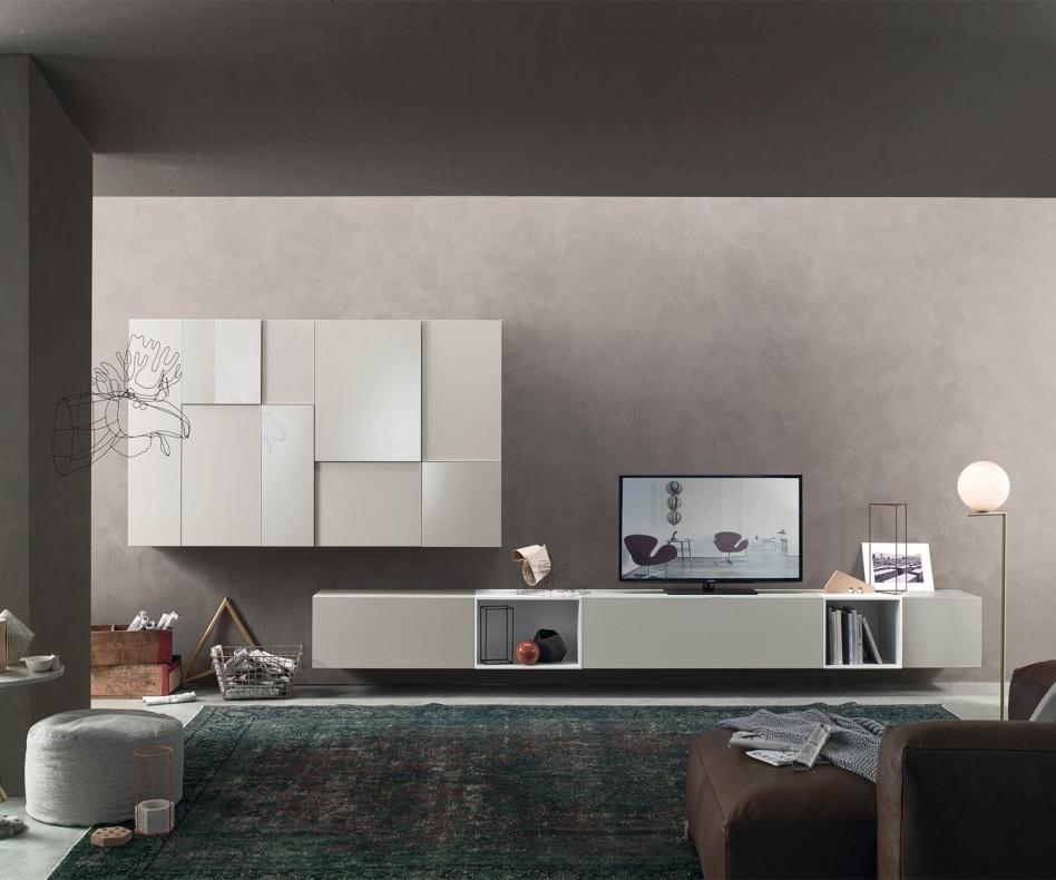 H ngende design wohnwand c07 mit offenen lowboard for Wohnwand design