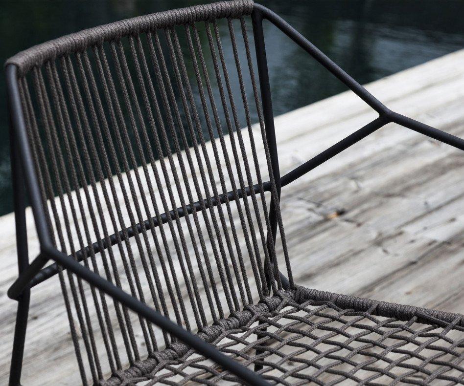 Moderner Oasiq Sandur Schnur Design Stuhl in Dunkelgrau Anthrazit