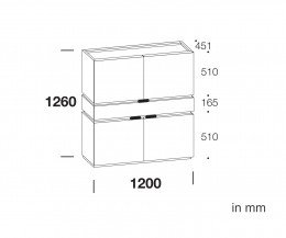 Modernes Livitalia Design Highboard Cubi Skizze Maße Größen Größenangaben