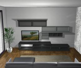 Hochwertige Designer  Wohnwand C99 Türen offen