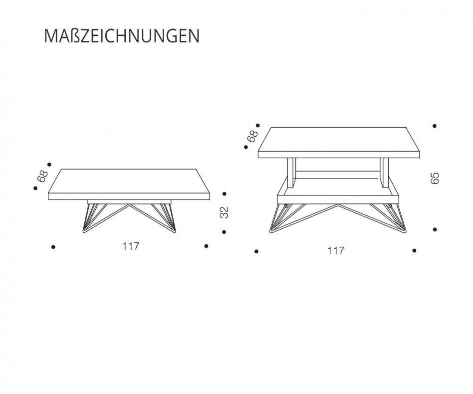 Ozzio Design Couchtisch R T064 Eiche