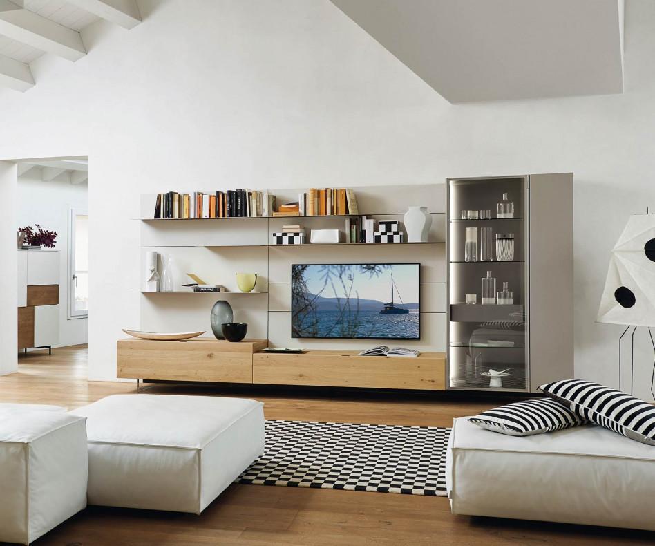 Livitalia Wohnwand C42 mit Glasvitrine und Bücherregal