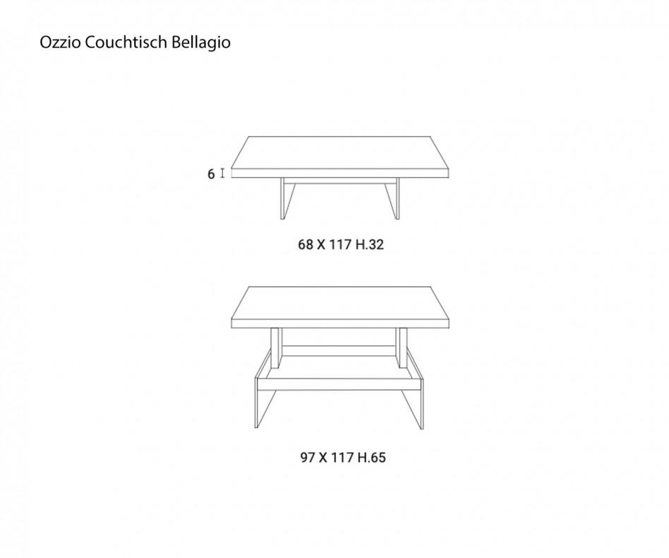 Exklusiver Ozzio Designer Couchtisch Bellagio Steinfurnier