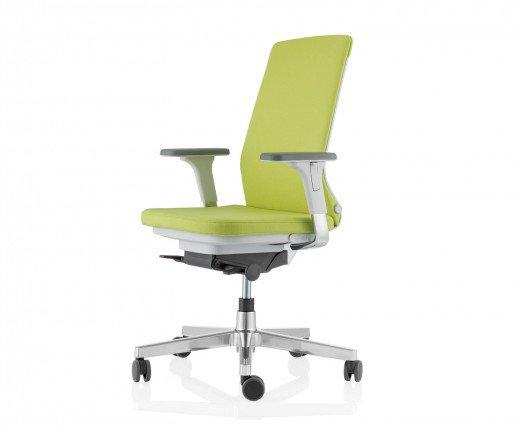 Moderner ICF Pyla Design Bürostuhl mit grünem Polsterbezug im Detail