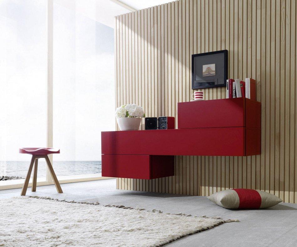 Exklusive Livitalia Valeo Design Wandkommode in Rot