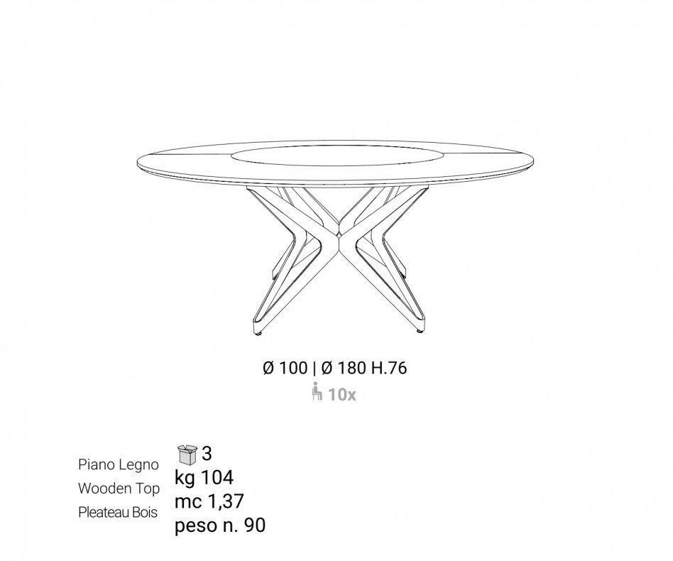 Moderner runder Ozzio Design Esstisch DNA mit drehbarer Platte