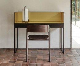 Hochwertiger Punt Schreibtisch Stockholm in Eiche Dunkelgrau Furnier Gold