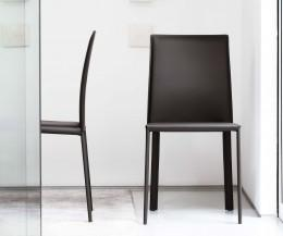 Novamobili Design Stuhl Flip brauner regenerierter Lederbezug