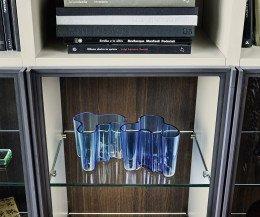 Bücherregal mit Leiter und Glasvitrine