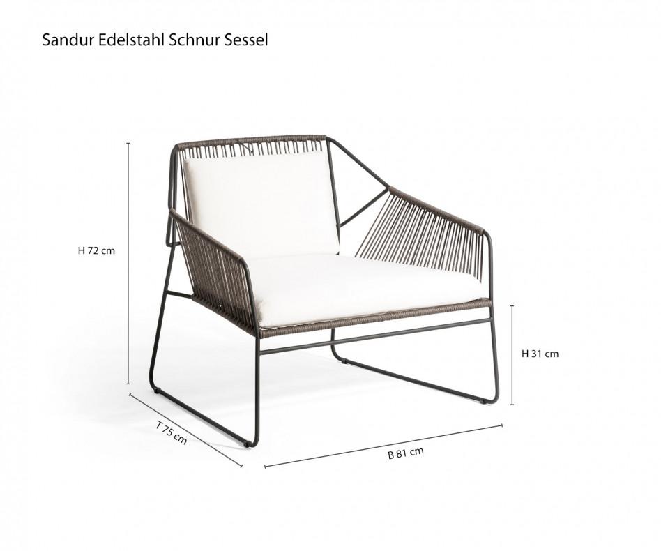 Exklusiver Oasiq Schnur Design Sessel auf der sommerlichen Gartenterasse