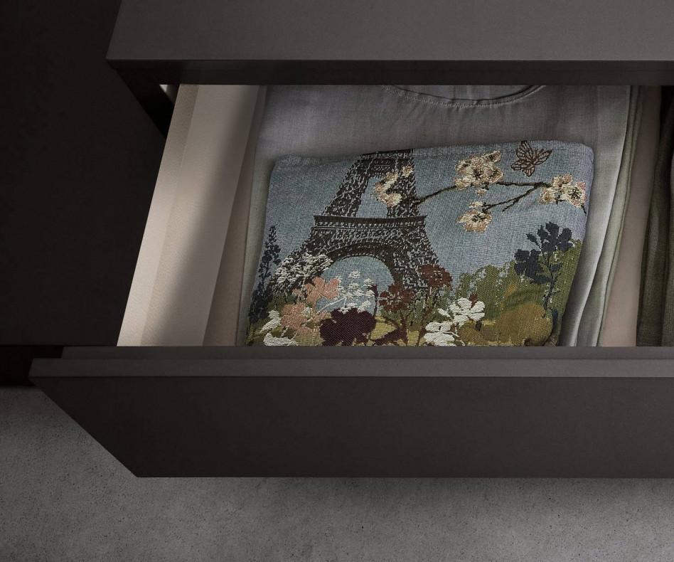 Novamobili Designer Nachttisch Easy 1 Schublade Detail Hellgrau glänzend