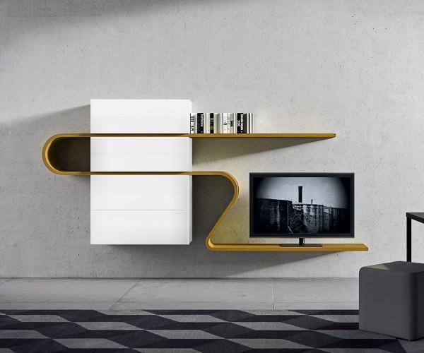 TV Wohnwand in Weiß mit Highlightfarbe Orca